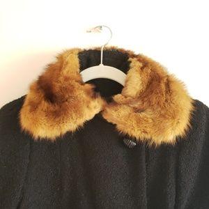 Vintage black wool jacket fur trim